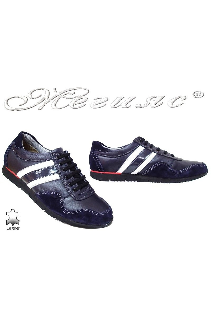 Men sport shoes TREGER 508-92 blue leather+suede