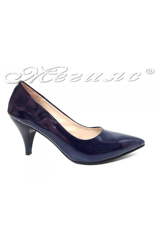 Women shoes 01103 blue patent middle heel