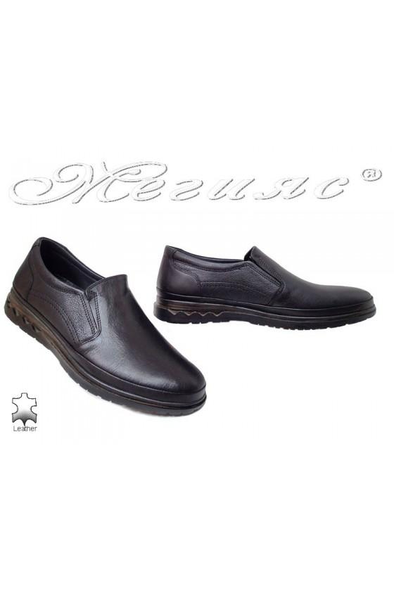Мъжки обувки Пъфи 747 черни естествена кожа