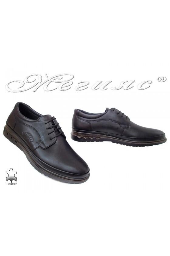 Мъжки обувки естествена кожа черни Пъфи 746