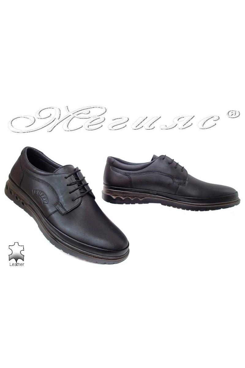 Men shoes 746 black leather