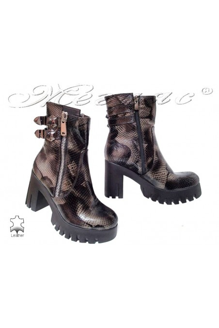 Lady boots 1005 black + grey snake pattent leather