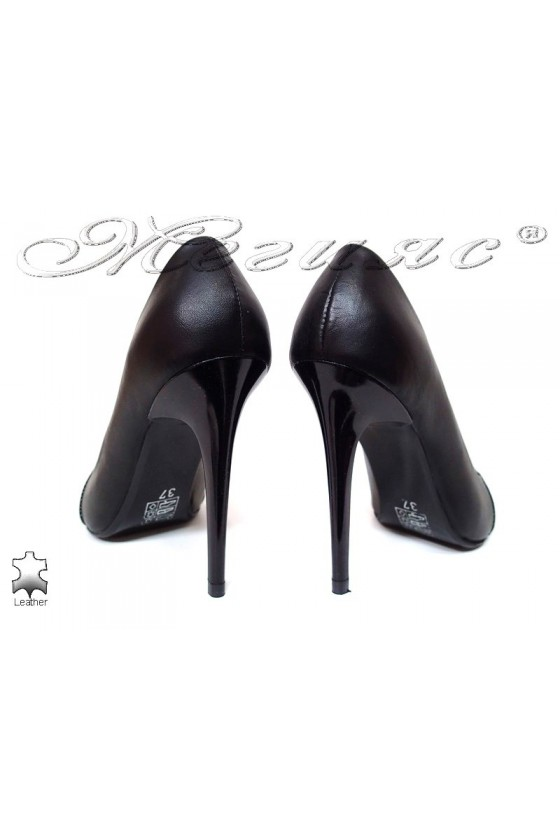 Women elegant  shoes 190 high heel black leather