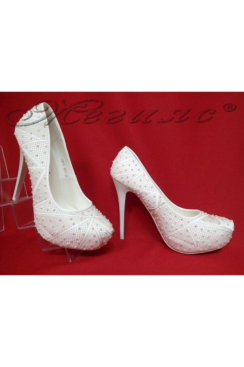 Lady elegant shoes 16011 white pu