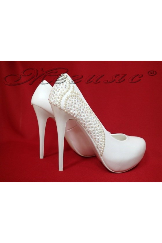 Lady elegant shoes 16016 white pu