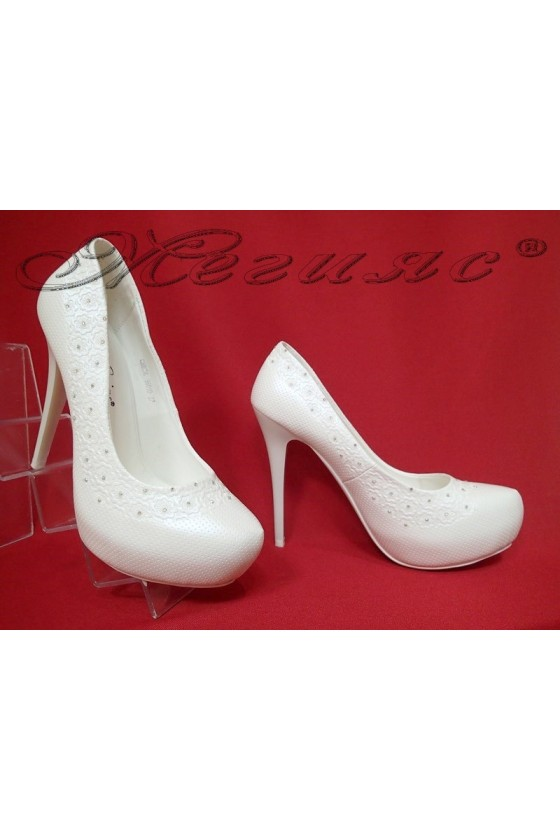 Lady elegant shoes 16010 white pu