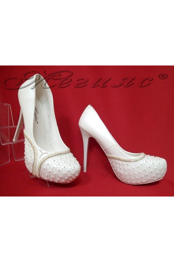 Lady elegant shoes 16014 white pu