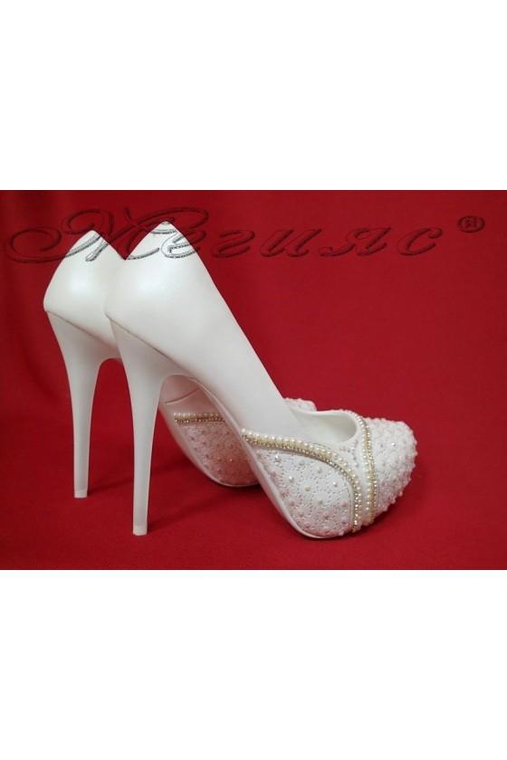 Lady elegant shoes 16014 white pu