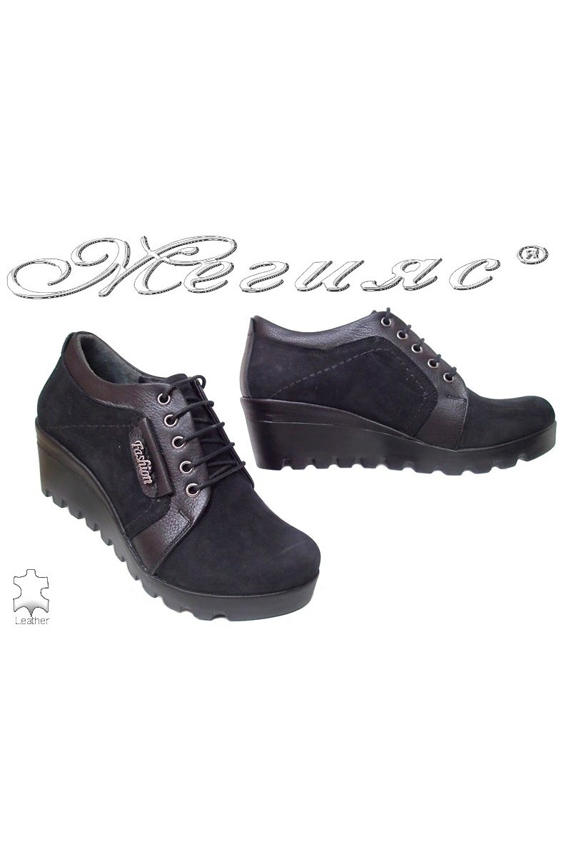 Women casual shoes 22 black leather suede