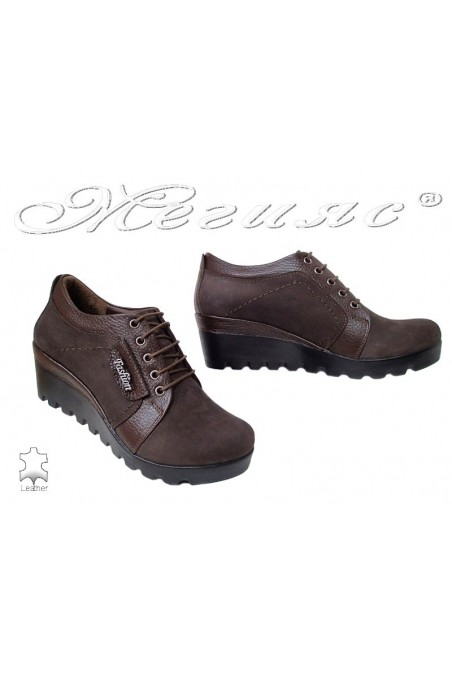 Women casual shoes 22 brown leather suede