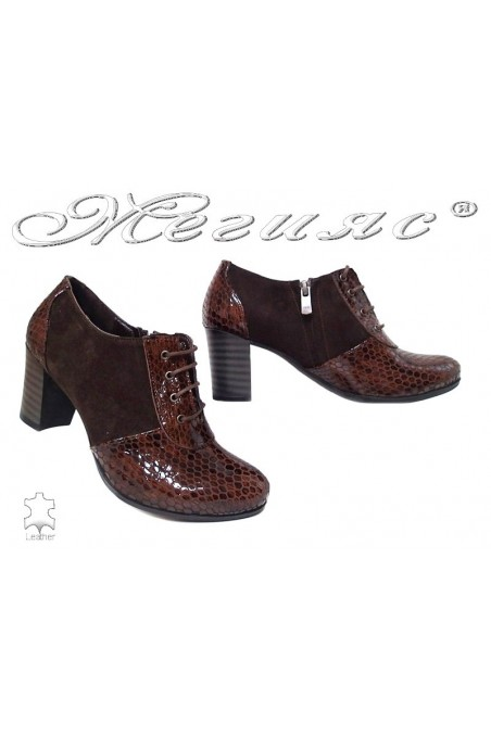 Lady shoes 1038-137 brown suede+pattent leather