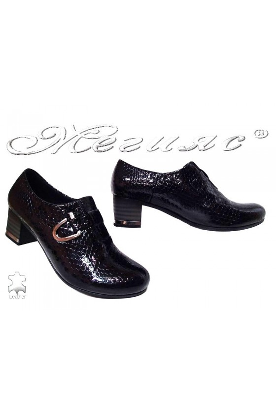 Lady elegant shoes 89-405 black pattent leather