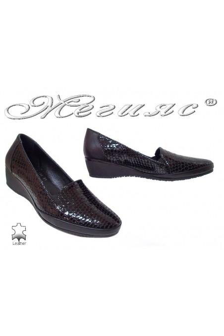 Дамски обувки черни змия  платформа ежедневни естествена кожа