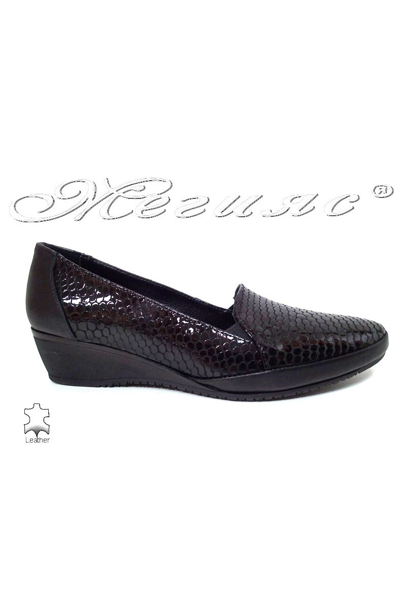 Дамски обувки 1050-138-15680 черни змия  платформа ежедневни естествена кожа