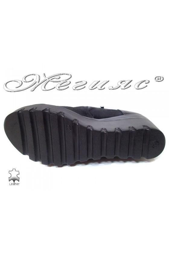 Women platform boots 159 black suede leather