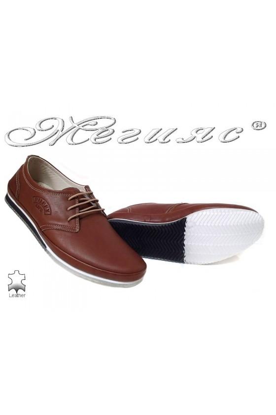 Мъжки обувки Puffy 734 таба естествена кожа ежедневни