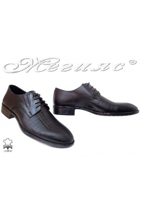Men elegant shoes 7502 black-1 leather