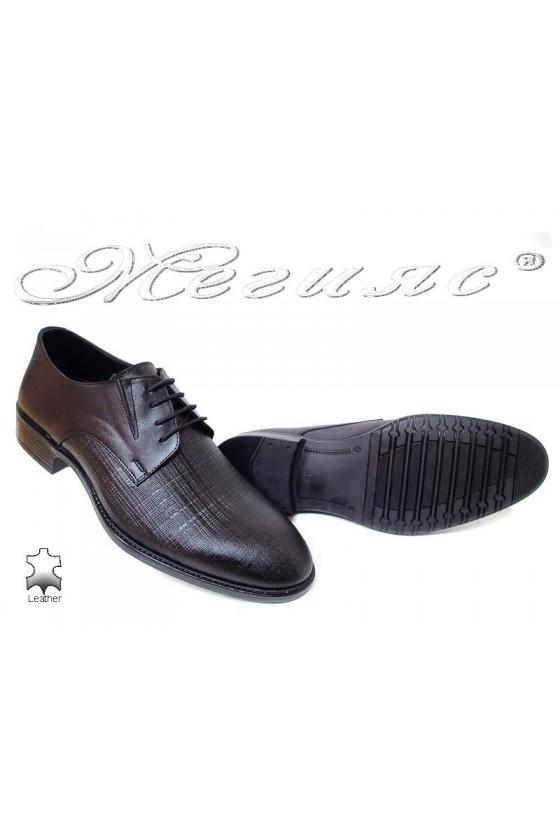 Мъжки обувки Фантазия 7502 релеф черни мат естетсвена  кожа елегантни