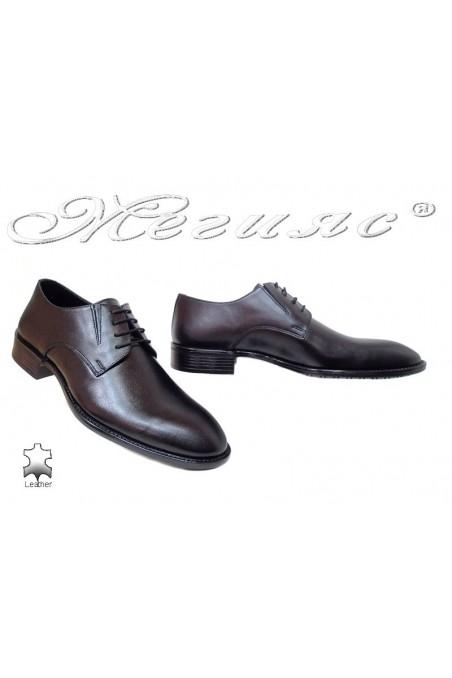 Men elegant shoes 7502 black leather