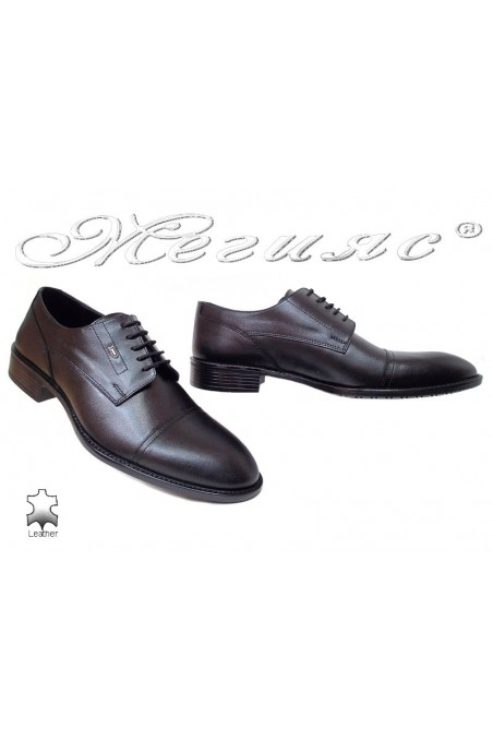 Men elegant shoes 7512 black leather