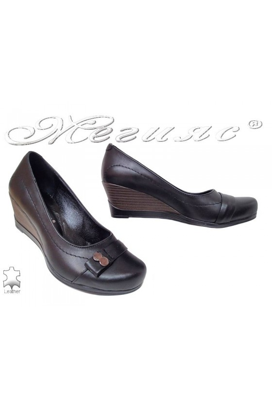 Ladies platform shoes 1011-01-5596 black leather