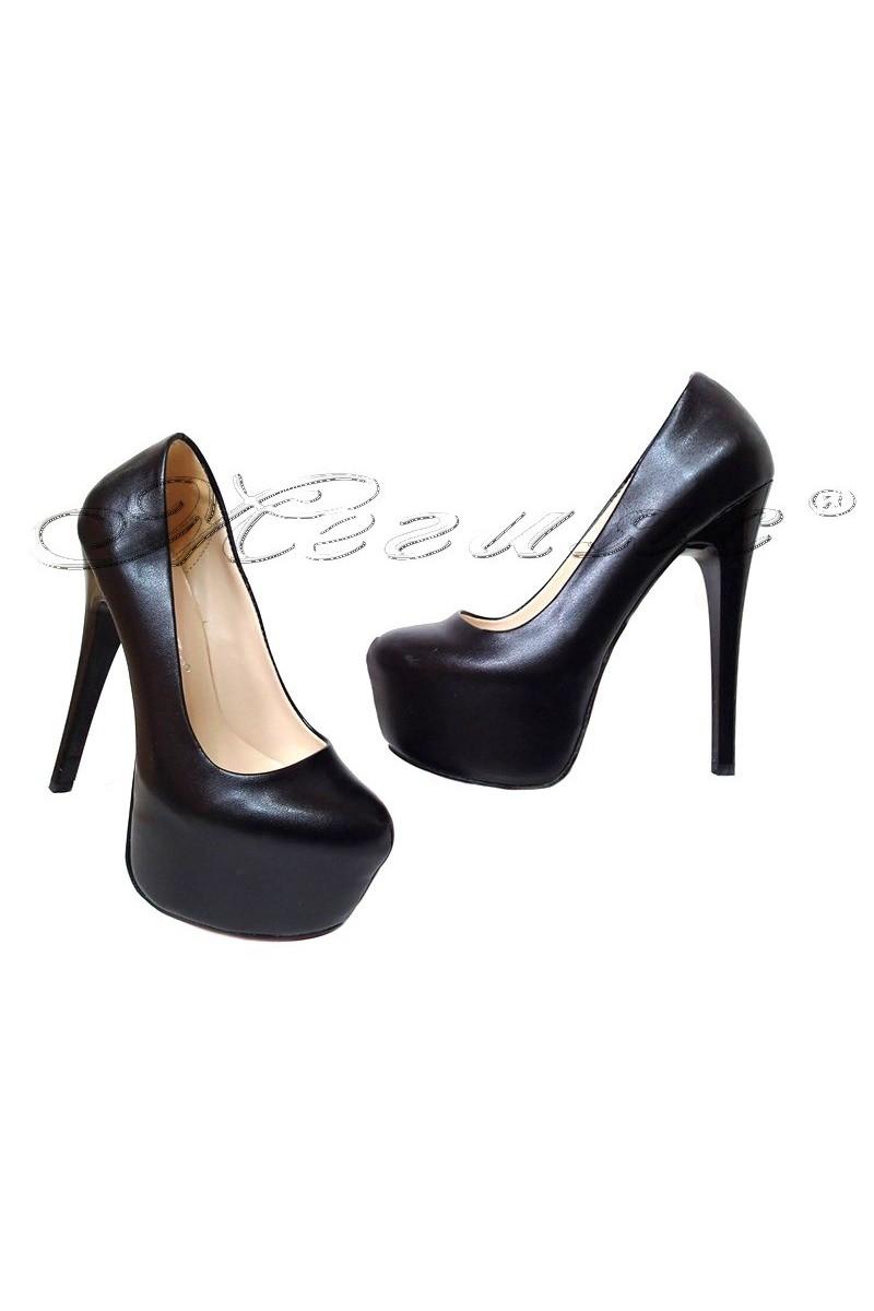 Дамски обувки 50 черни мат елегантни висок ток