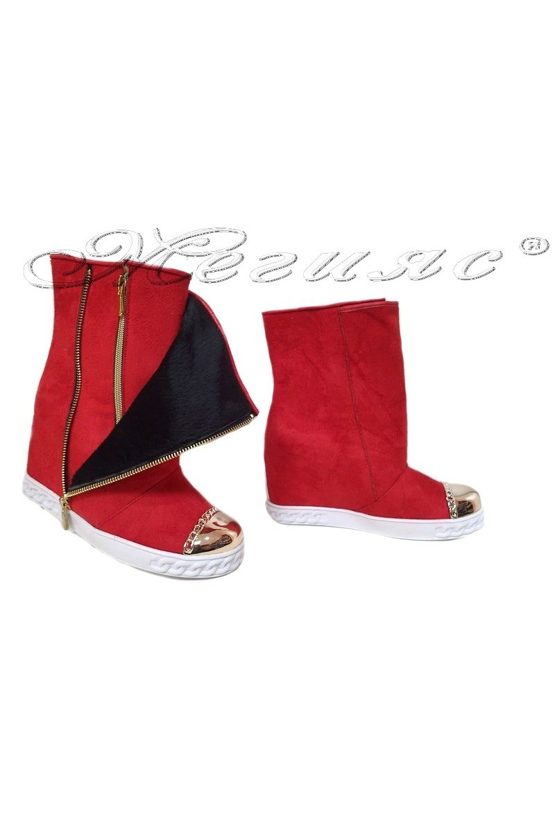 Women platform boots 418 red suede