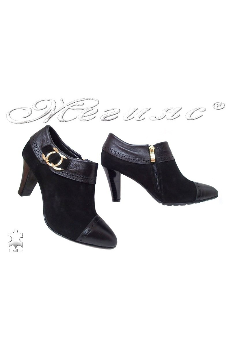 Lady elegants shoes 212-32-01 black leather suede
