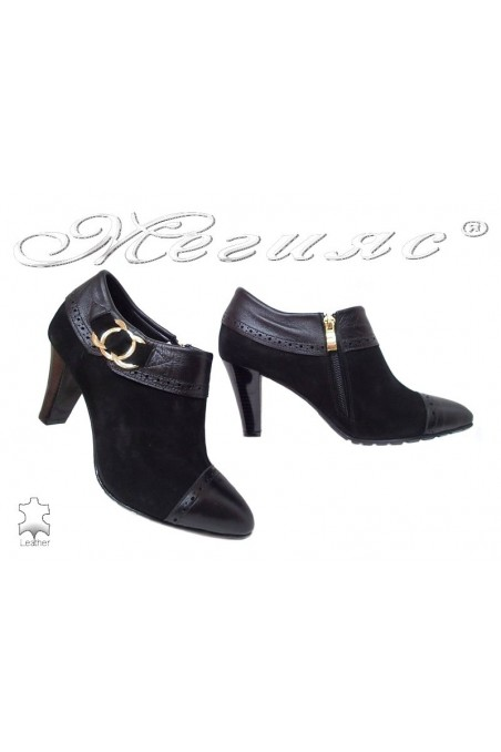 Lady elegants shoes 212-32-01 black leather suede