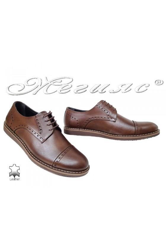 Мъжки обувки Fenomen 554 кафяви естествена кожа