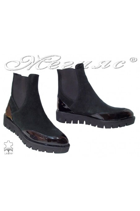 Lady casual boots 1827 black suede leather+ pattent