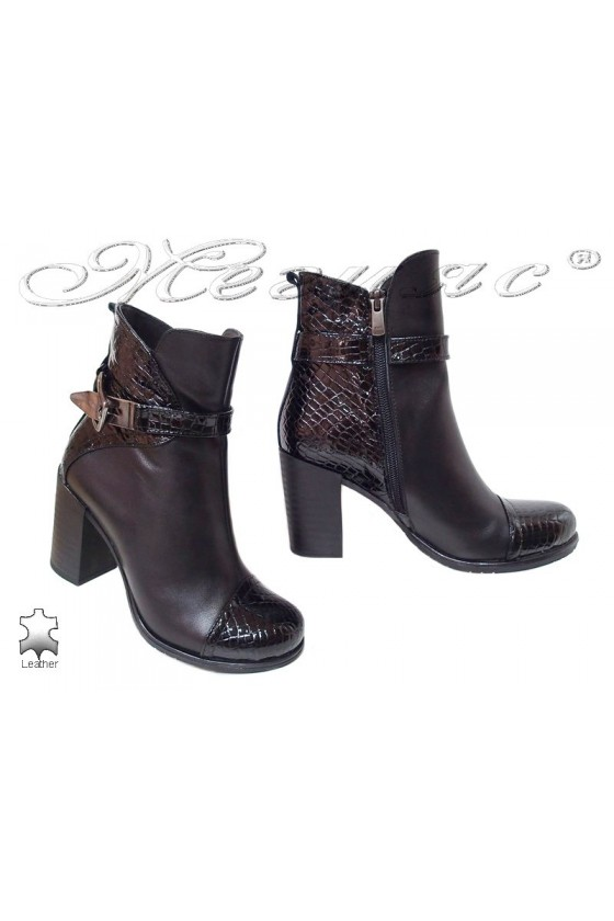 Lady boots 1008 black leather + pattent