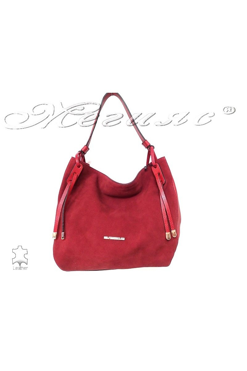 Bag 8587 red suede leather