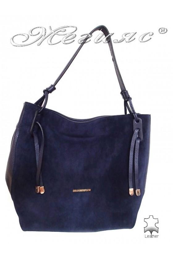 Дамска чанта 8587 синя естествена кожа+ велур