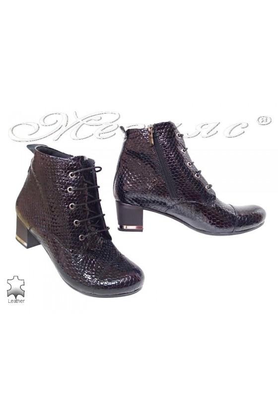 Women boots 104-405 dark blue leather patent