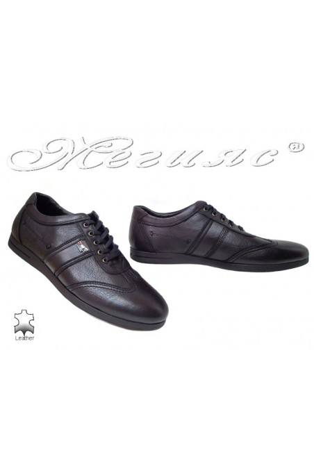 Men sport shoes 455-014 black leather