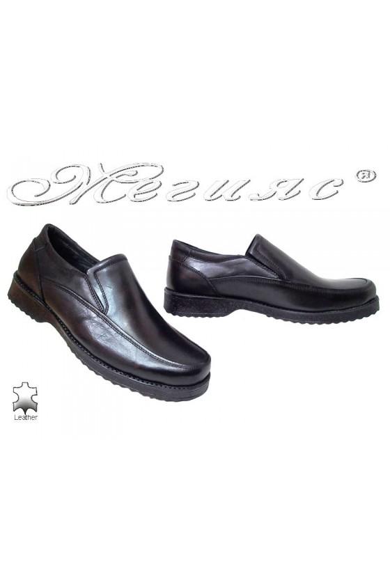 Мъжки обувки XXL 871 черни естествена кожа