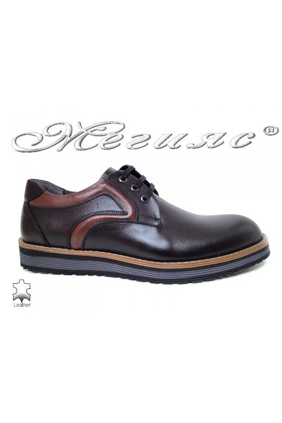 Мъжки обувки Fenomens 905 черни + кафяво естествена кожа