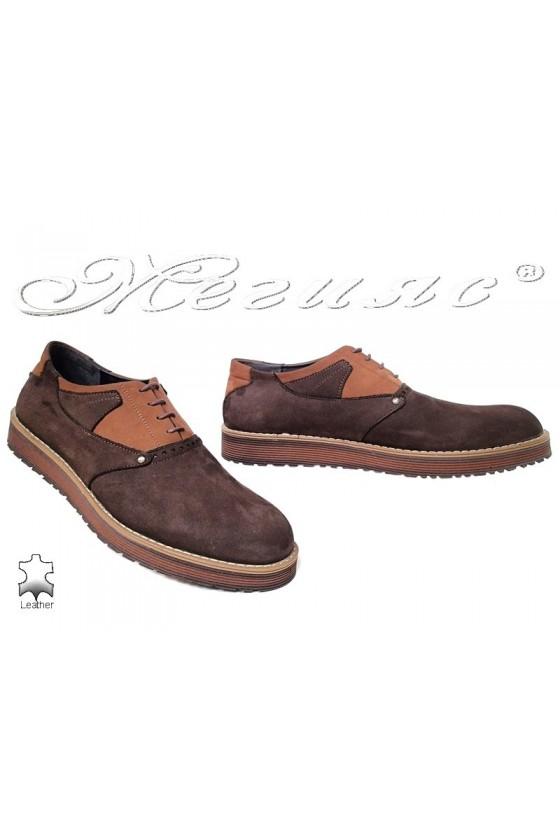 Мъжки обувки Fenomens 901 кафяви естествен набук