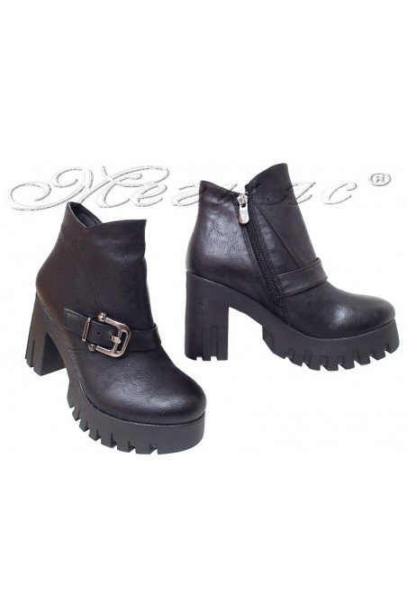 Women boots 65 black pu high heel