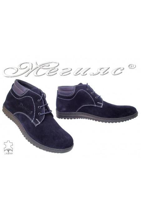 Men boots 646 dark blue suede