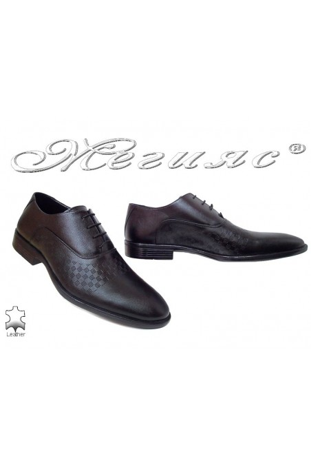 Men elegant shoes 7002-61 black leather