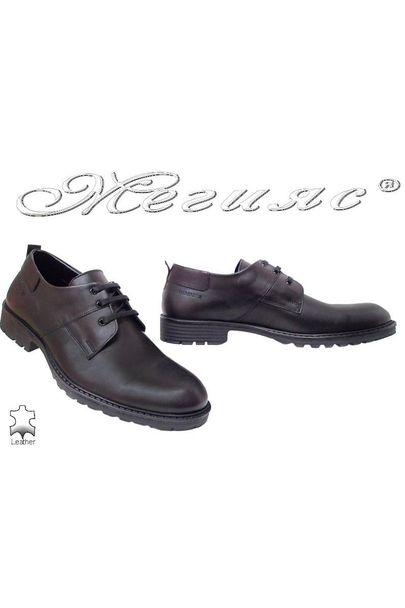 Мъжки обувки Фантазия 7208 черни мат елегантни естествена кожа