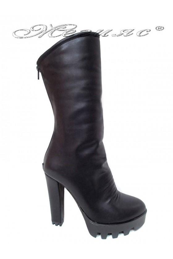 Дамски ботуши 27-65 черни еко кожа висок ток