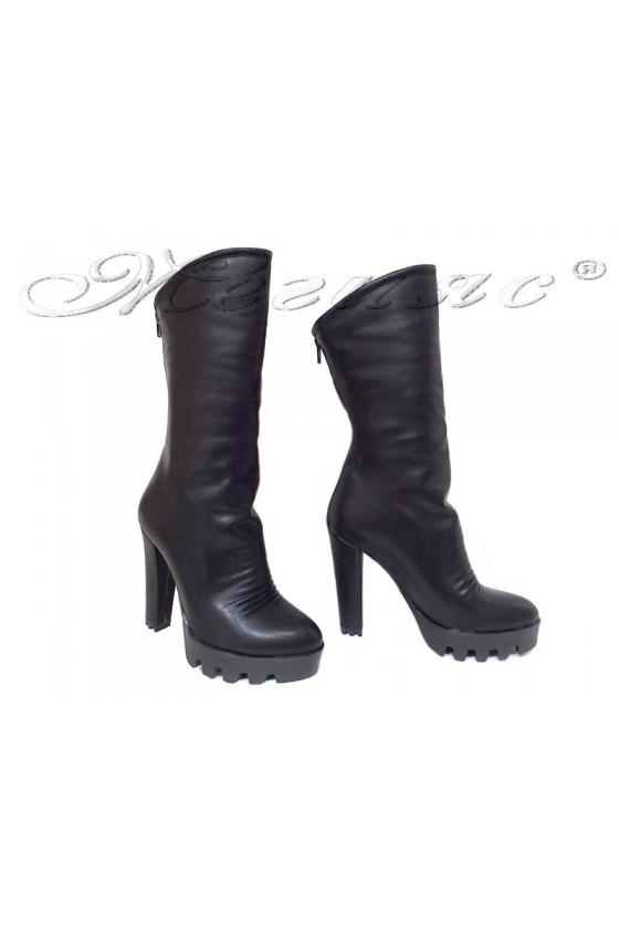 Дамски ботуши 27-65 черни естествена кожа висок ток