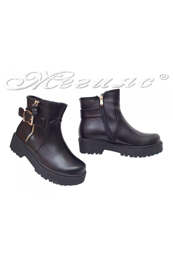 Lady casual boots STEVEN 116-183 black pu