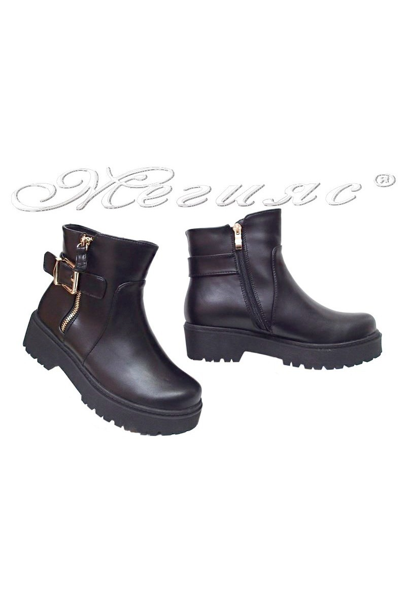 Lady casual boots STEVEN 116-183 black pu