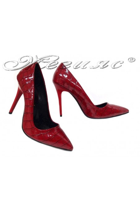 Women elegant shoes 308 red patent high heel