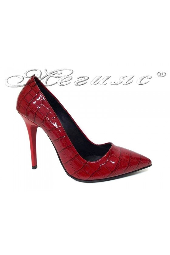Women elegant shoes 308 red patent high heel