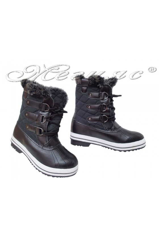 Lady warm boots 116-217 black pu+ textiles